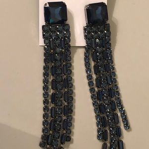 Kate spade blue crystal fringe earrings